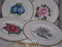 Vintage Royal Worcester Floral Cabinet Plates Set of 8 Rose Tulip Iris Lily