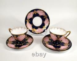 Vintage Royal Worcester Tea Coffee Set Cup Saucer Plate Milk Jug Bowl Pink