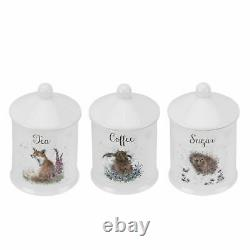 Wrendale by Royal Worcester Set of 3 Tea/Coffee/Sugar Canister/Jar Assorted